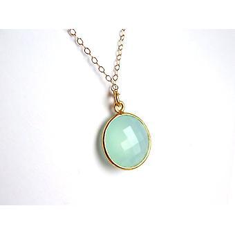 Damen - Halskette - 925 Silber - Vergoldet - Chalcedon - Grün - CANDY - 45 cm