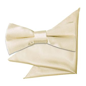 Champagne Plain Satin Bow Tie & Pocket Square Set for Boys