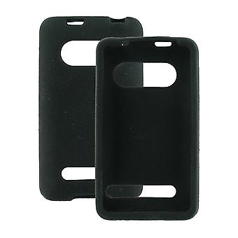 HTC EVO 4G Silicone Sleeve Case with Kickstand Opening - Black