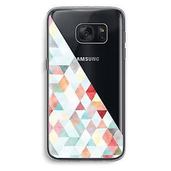 Samsung Galaxy S7 Transparent fodral (Soft) - färgade trianglar pastell