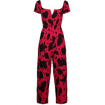 Blue Inc Woman Womens Red Print Jumpsuit