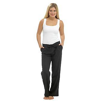 Womens effen kleur geribbelde taille linnen broek billen broek zwart 12