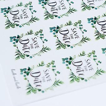 SAVE THE DATE  Single Sticker Sheet BOTANCIAL WREATH with 35 Stickers Wedding