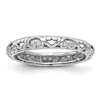 3.5mm zilver stapelbare expressies Rhodium gesneden Ring - Ringmaat: 5 tot en met 10