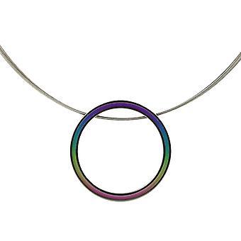 Colgante grande Retro de la titanio Ti2 y alambre Cable collar - multicolor