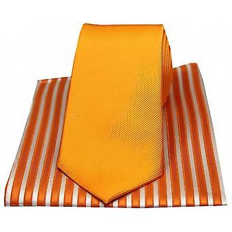 David Van Hagen ribbels Tie en gestreepte zakdoek Set - oranje