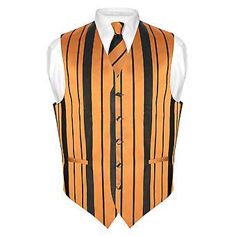 Men's Dress Vest & NeckTie & Woven Striped Design Neck Tie Set