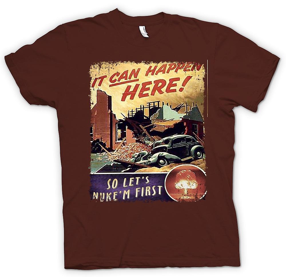 Mens t-shirt-guerra fredda manifesto dell'annata Nuke Em