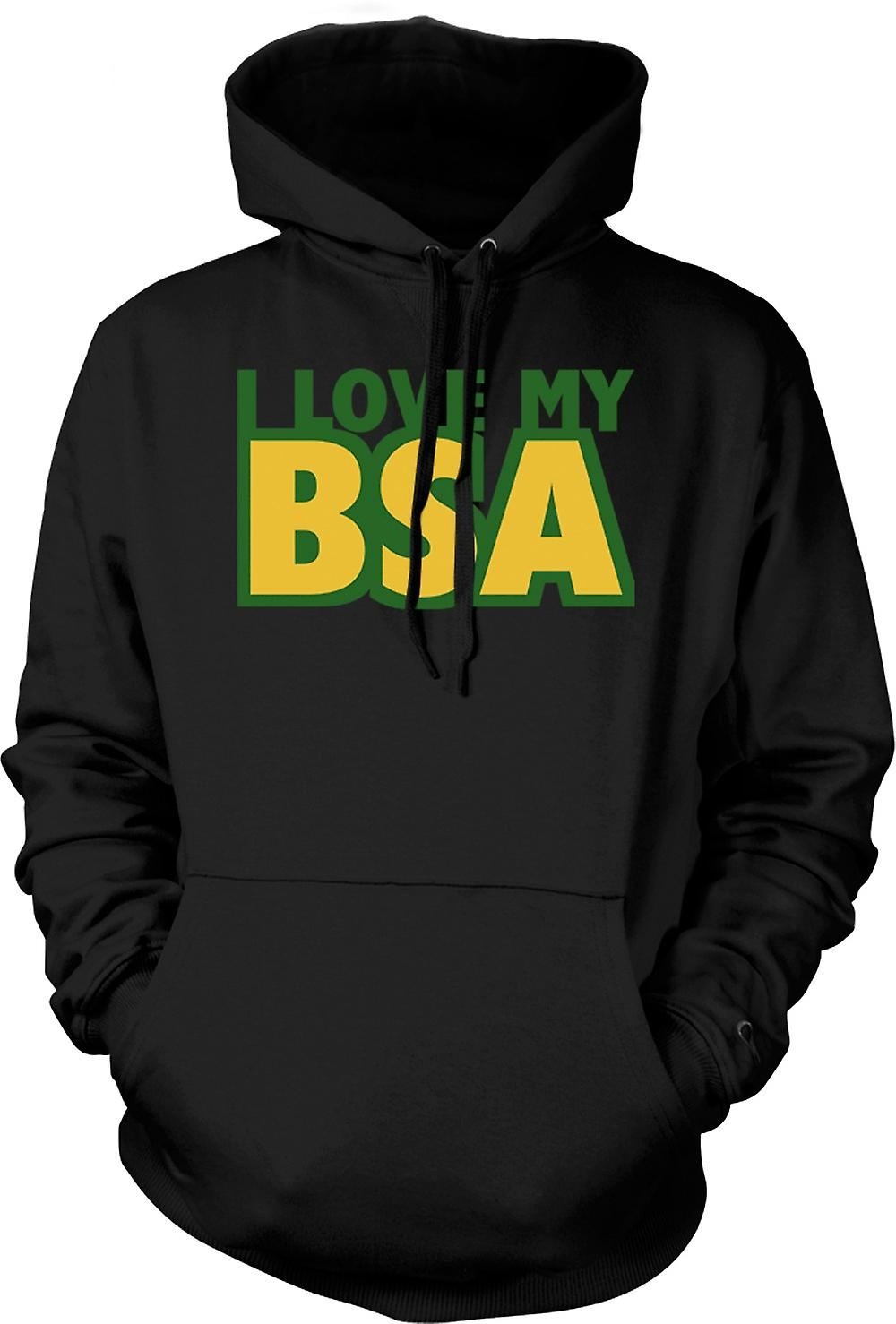 Mens Hoodie -  I Love My Bsa - Motorcycle - Biker
