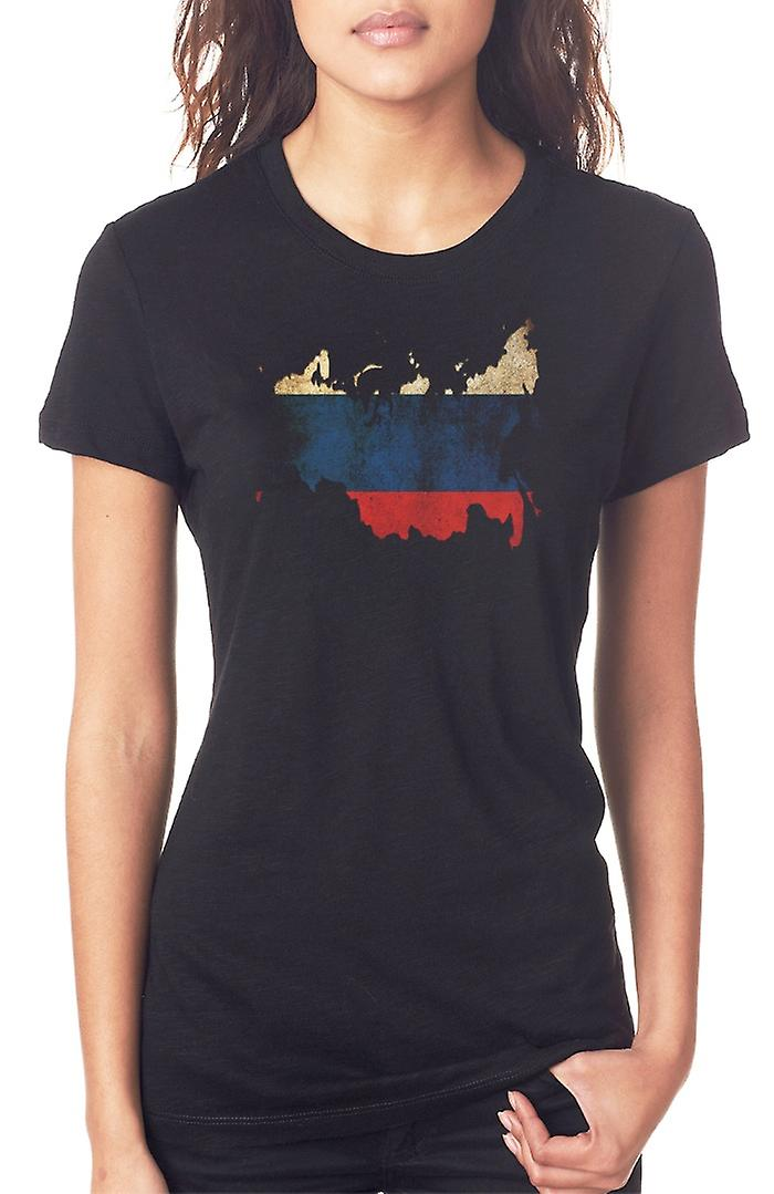 Russo Russia Flag mappa Ladies T Shirt
