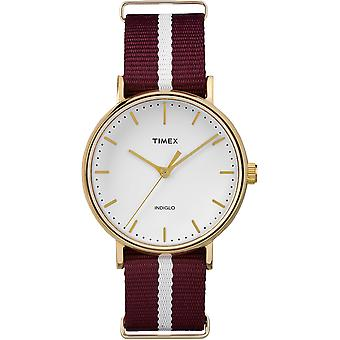 Timex Weekender Gold Plated Red Fabric Strap Unisex Watch TW2P98100 37mm