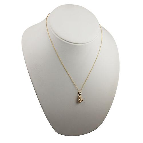 9ct Gold 18x10mm solid Rabbit Pendant with a cable Chain 20 inches