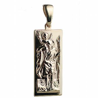 9ct Gold 35x15mm rectangular St Christopher Pendant on a bail