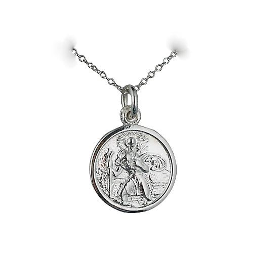Silver 16mm round St Christopher Pendant with a rolo Chain 18 inches