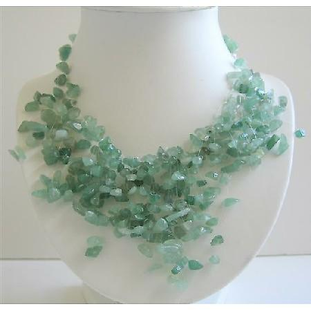 Green Jade Stone Chips Nugget Beads Multi Dangling Tassel Necklace