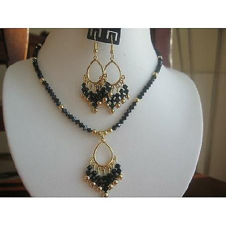 Handmade Swarovski Crystals jet Gold Plated Pendant Necklace Earrings