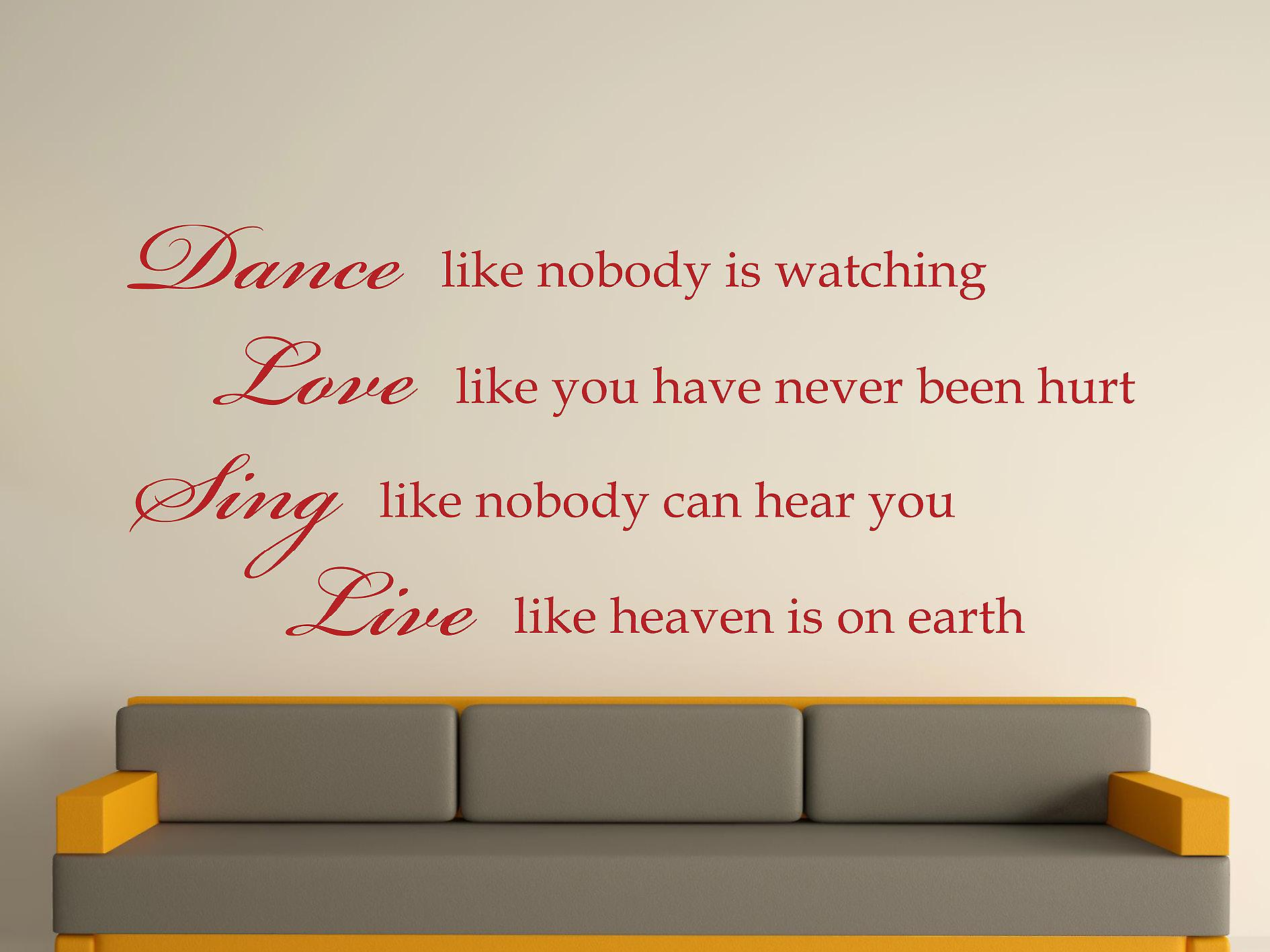 Dance Like Nobody Is Watching Wall Art Sticker - Dark Red