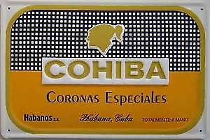 Cohiba Coronas Cigars embossed metal sign  (hi)
