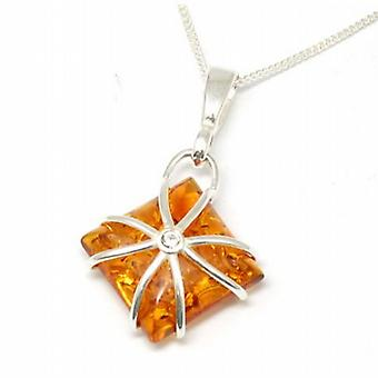 Toc Sterling Silver Square Shaped Amber Pendant on 18 Inch Chain