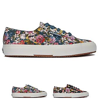 Womens Superga 2750 Flowery Satin Closed Toe Low Top Lace Up Trainers