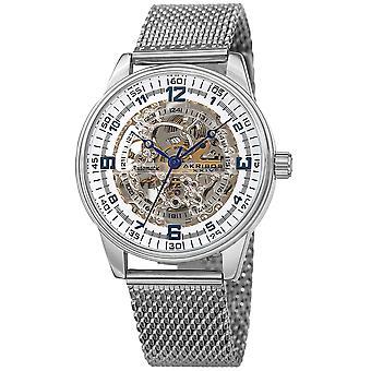Akirbos XXIV AK1074SS Men's  Skeleton Automatic Watch Stainless-Steel Mesh Bracelet Watch