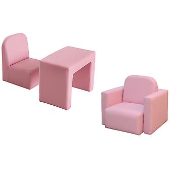 HOMCOM Kids Mini Sofa 2 In 1 Table Chair Set  Armchair Seat Game Relax Playroom Seater Children Girl Boys Pink