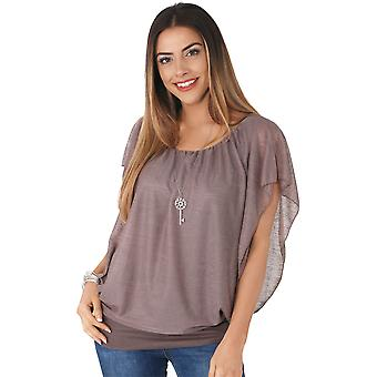 KRISP  Womens Oversized Chiffon Mesh Batwing 2 in 1 Necklace Vest Cape Top Blouse Party