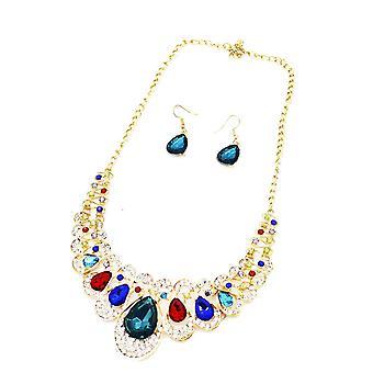 Damenfarbiges Schmuckstatement & Verstärker; Ohrring gesetzt swarovski Kristallkette