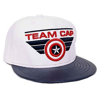 Captain America Baseball Cap Team Captain Logo Officiel Marvel White Snapback
