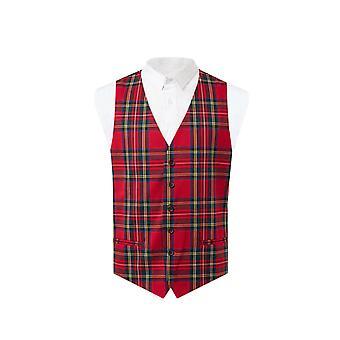 Dobell Mens Red Tartan Waistcoat Slim Fit