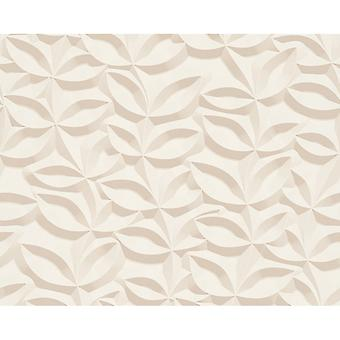 A.S. Creation AS Creation 3D Effect Leaf Pattern Wallpaper Stone Floral Leaf Modern Textured 329812
