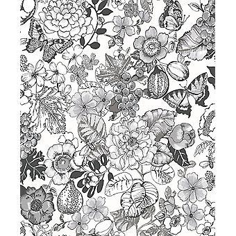 Butterflies Leaf Floral Glitter Wallpaper Black White Paste Wall Holden Acorus