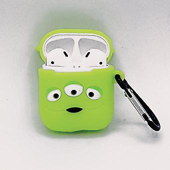 Cartoon Silicone Case voor Apple Airpods - green three-eyes - met karabijn