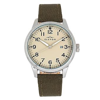 Elevon Bandit Leather-Band Watch w/Date - Olive/Tan