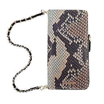 Luxury iPhone 8/7 Case Leather Wallet Shimmer Snake Design Tan
