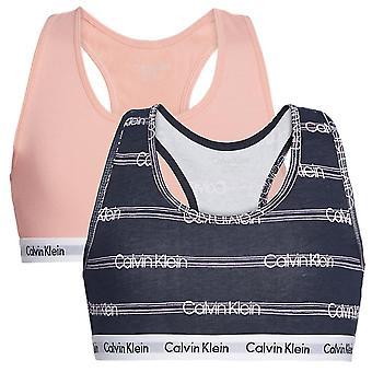 Calvin Klein Girls 2 Pack Modern Cotton Bralette, Flamingo Pink / Glitch Stripe, Age 14-16