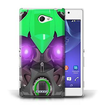 STUFF4 Case/Cover for Sony Xperia M2/Bumble-Bot Green/Robots