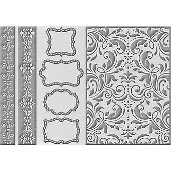 Couture Creations Embossing Folder A4-Borders Tags & More CO723620
