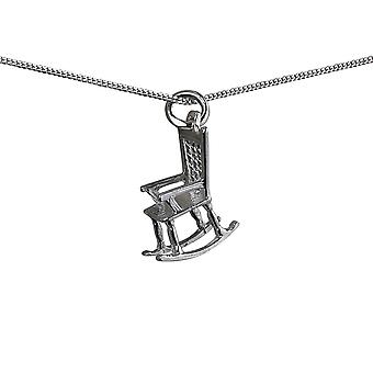 Silver 18x14mm solid Rocking Chair Pendant with a curb Chain 20 inches