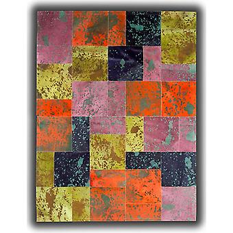 Rugs -Patchwork Leather Cowhide - Acid Colours AC1