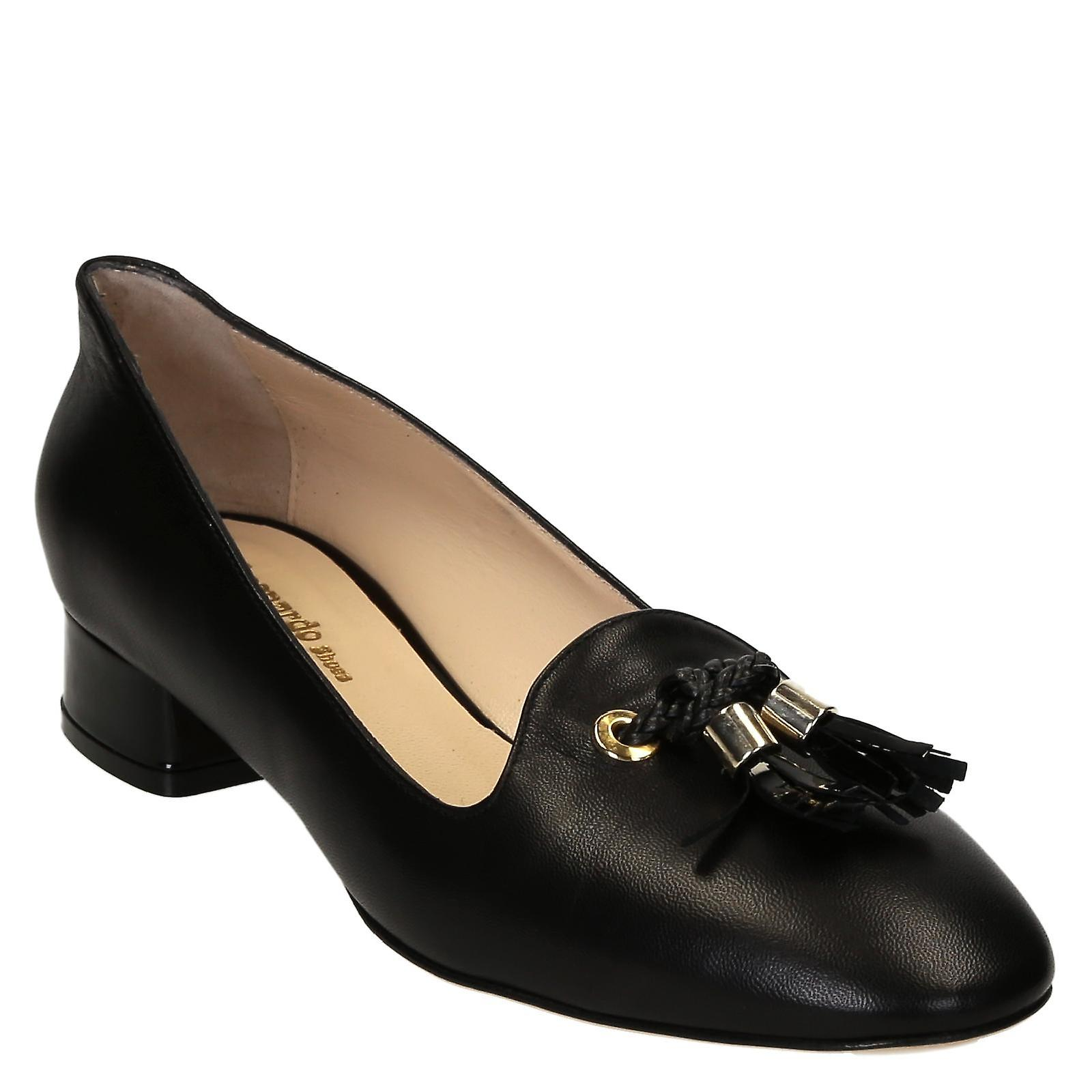 heels shoes leather low Handmade pumps soft black wnIqxYPZ