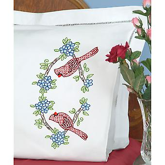 Stamped Pillowcases W/White Perle Edge 2/Pkg-Cardinal  1600 712