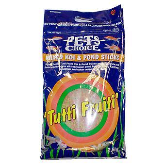Kæledyr valg Tutti Frutti blandet Koi & Dam pinde 2,5 kg