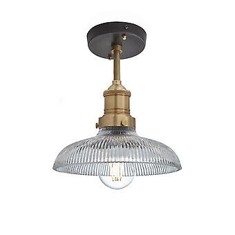Brooklyn Vintage Antique Ribbed Glass Retro Dome Flush Mount Light - 8