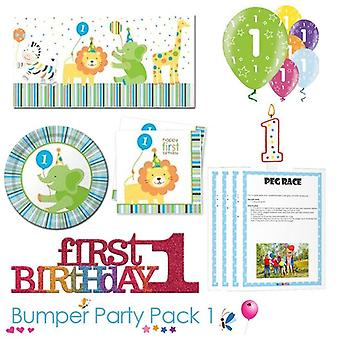 Sweet at 1 Boy 1st Birthday Party Tableware Bumper Pack 1