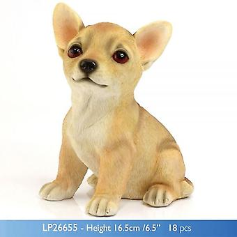 CHIHUAHUA DOG FIGURINE ORNAMENT SITTING STATUE IN GIFT BOX