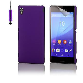 Hard shell case + stylus for Sony Xperia M4 Aqua - Purple