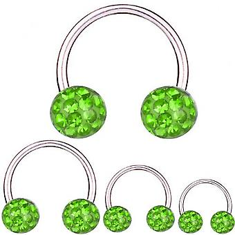 Circular Barbell Horseshoe Titanium 1,2 mm, Multi Crystal Ball Green | 6 - 12 mm