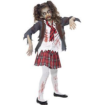Zombie Szkoła dziewczyna dziewczynka kostium Halloween