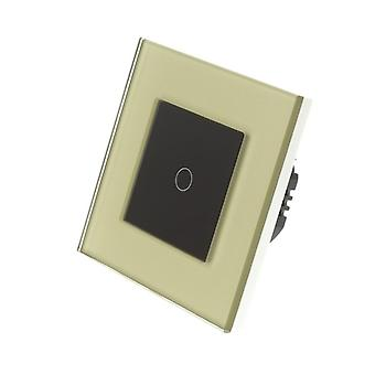 I LumoS Gold Glass Frame 1 Gang 1 Way Remote & Dimmer Touch LED Light Switch Black Insert
